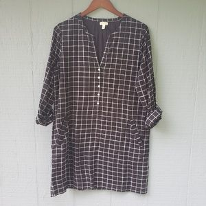 Joie Soft Windowpane Plaid Shift Dress Large B/W